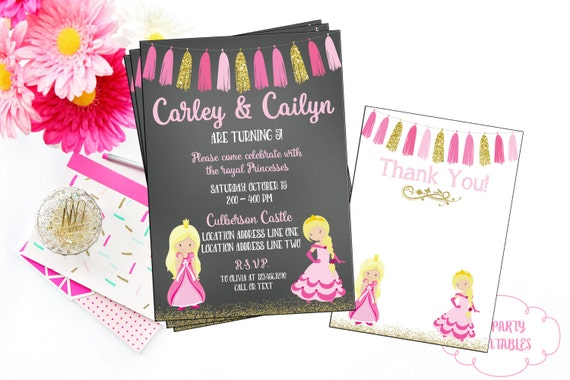 Twin princess birthday invitation you print princess theme etsy image 0 filmwisefo