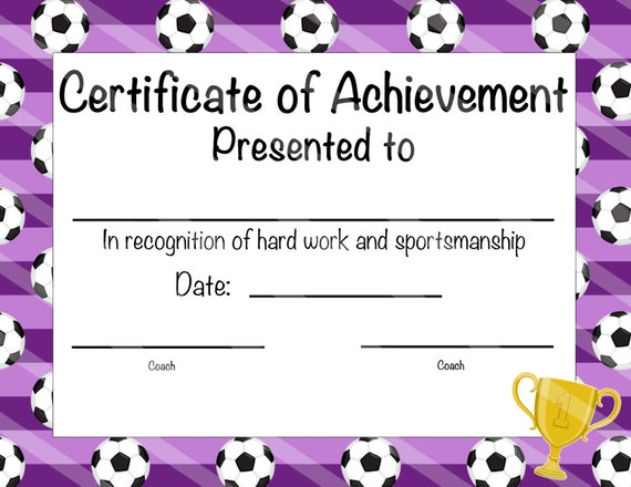 soccer certificate of participation soccer award print at etsy