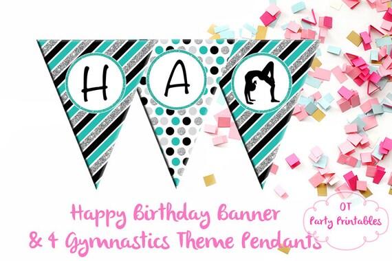 Gymnastics Happy Birthday Banner Diy Birthday Banner Teal Etsy