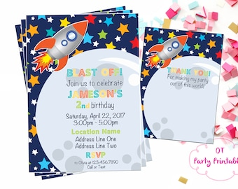 Space Invitation - Space Birthday Invitation - Space Theme Party - Astronaut Party - YOU Print - Out of This World - Space Ship Party