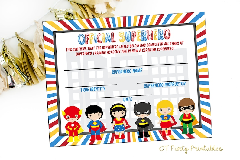 picture about Superhero Certificate Printable titled Prompt Obtain - Superhero Certification - Superhero Printables - Superhero Academy - Yourself Print - Superhero Get together - Superhero Birthday