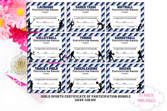 Instant download sports participation award multi sport yelopaper Gallery
