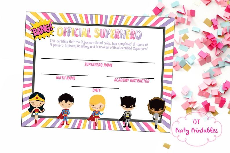 photo about Superhero Certificate Printable named Superhero Certification - Superhero Printables - Superhero Academy - Oneself Print - Superhero Bash - Woman Superhero - Superhero Birthday