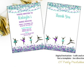 Dance recital invitation Etsy