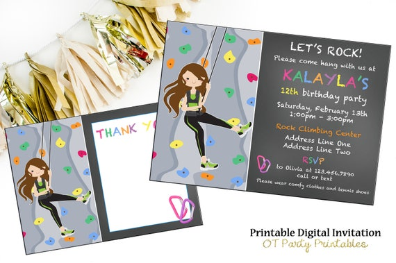 Girl Rock Climbing Invitation Rock Climbing Birthday Etsy