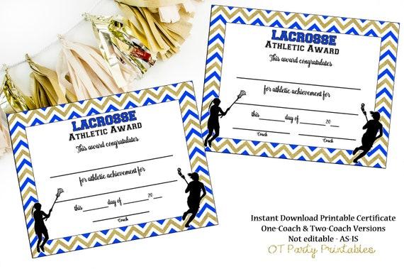 Instant download lacrosse certificate lax award lacrosse yelopaper Gallery