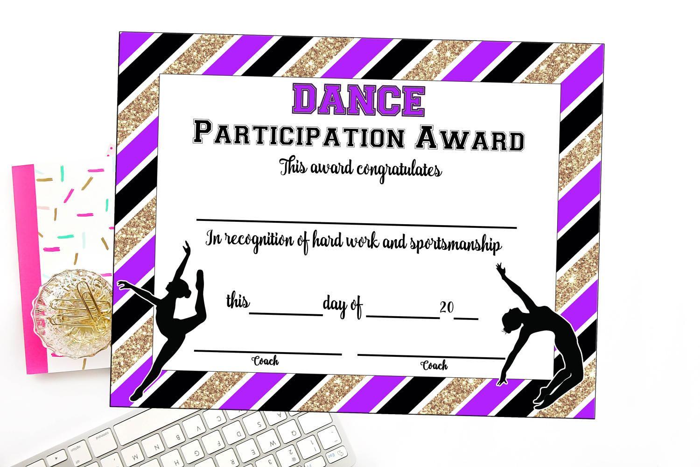 Instant Download Dance Team Certificate Dance Award Etsy