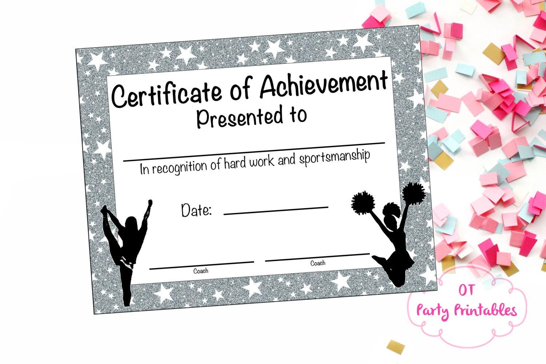 Cheerleading Certificate Cheerleading Award Cheerleading Etsy