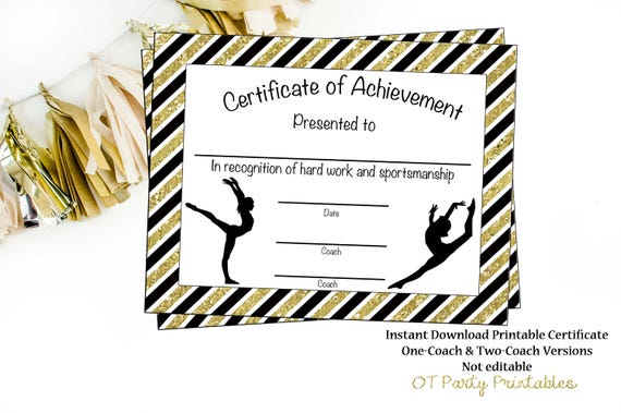Gymnastics Award Gymnastics Certificate Printable