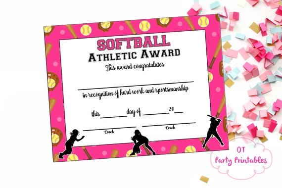 softball certificate of achievement softball award print etsy