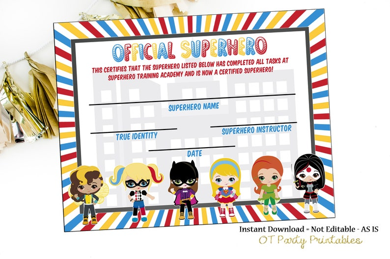 picture regarding Superhero Certificate Printable named Fast Down load - Superhero Certification - Superhero Printables - Superhero Academy - Oneself Print - Superhero Celebration - Superhero Birthday
