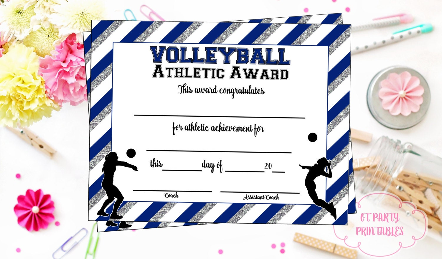 Instant Download Volleyball Certificate Volleyball Etsy