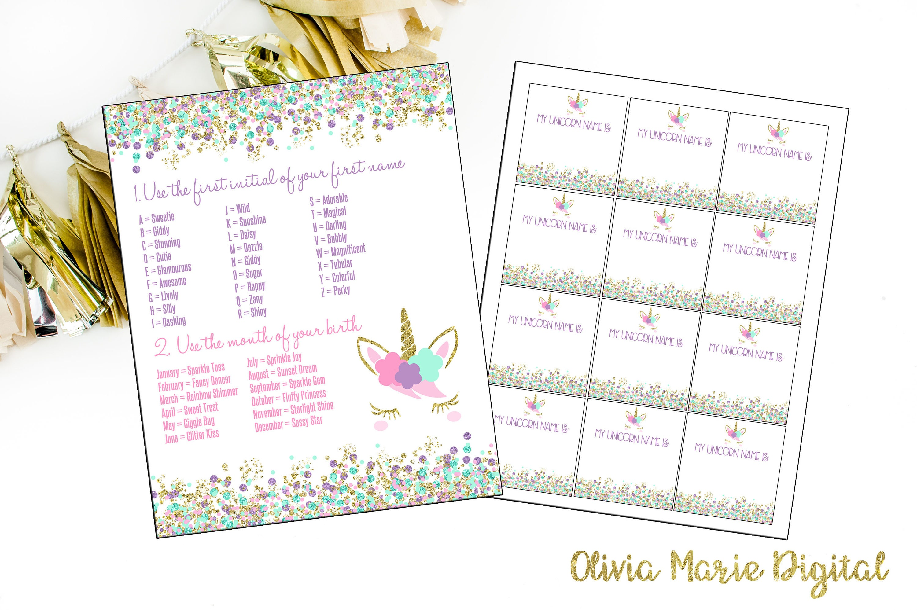 INSTANT DOWNLOAD - Unicorn Name Generator - Unicorn Party - Pastel Unicorn  Birthday Party - Unicorn Name Printable - Find Your Unicorn