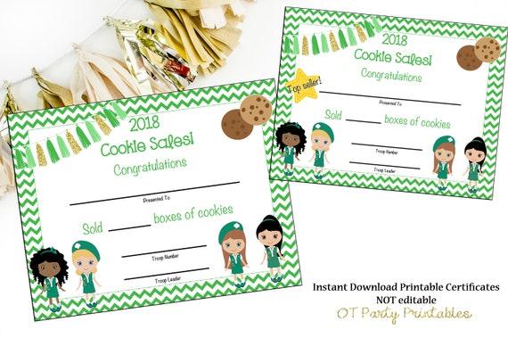 cookie sales certificate cookie sales award scout cookie etsy