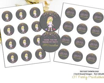 INSTANT DOWNLOAD - Spa Thank You Label - Printable - DIY - Spa Birthday Party - Spa Thank You - Spa Party Thank You - Pink Purple Gold