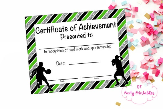 basketball certificate of achievement basketball award etsy