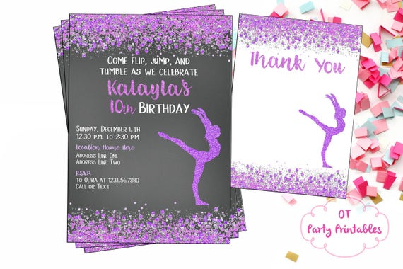 Printable Gymnastics Digital Invitation Confetti