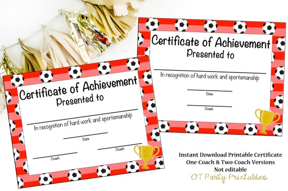 instant download soccer certificate of participation etsy