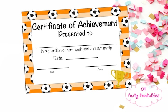soccer certificate of achievement soccer award print at etsy