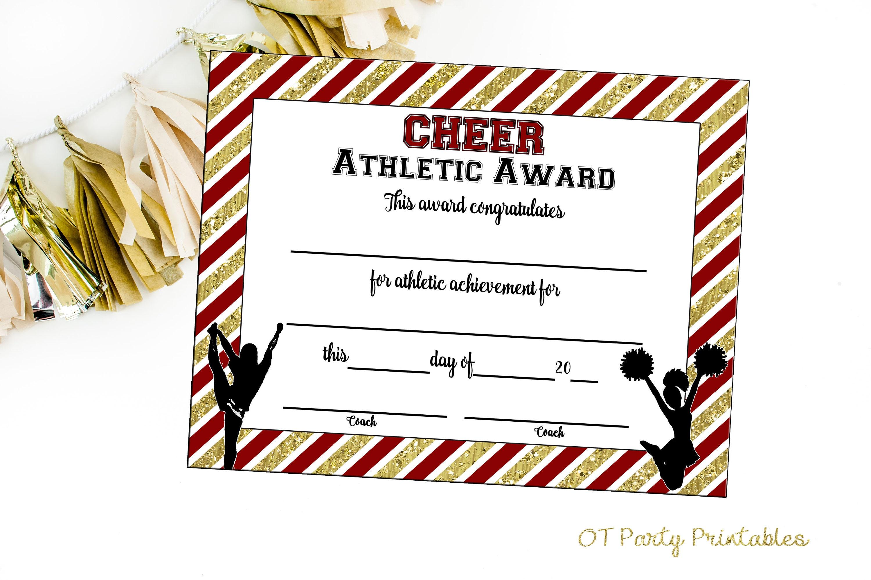 Instant Download Cheerleading Certificate Cheerleading Etsy