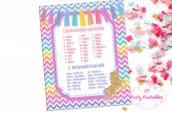 instant download unicorn name generator unicorn party etsy