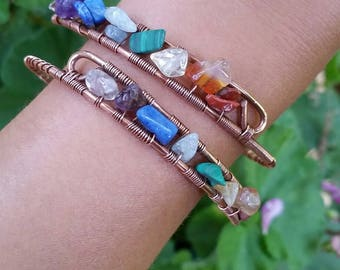 Handmade Wire-Wrapped Copper Chakra Bangle or Armlet with Genuine Natural Semi-Precious Stones - Made to Order
