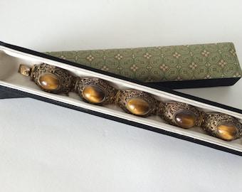 Vintage Chinese Silver Wirework  Bracelet with Tigereye