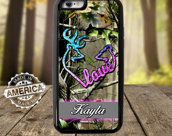 Buck and Doe Love Camo with name phone Case, Iphone 7 Case, Samsung Case
