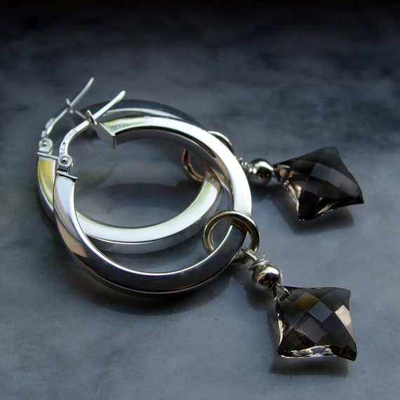 modern gemstone charm hoop earring smoky quartz brown sterling silver large hoop AAA chandelier shiny polished smooth mirror finish facet