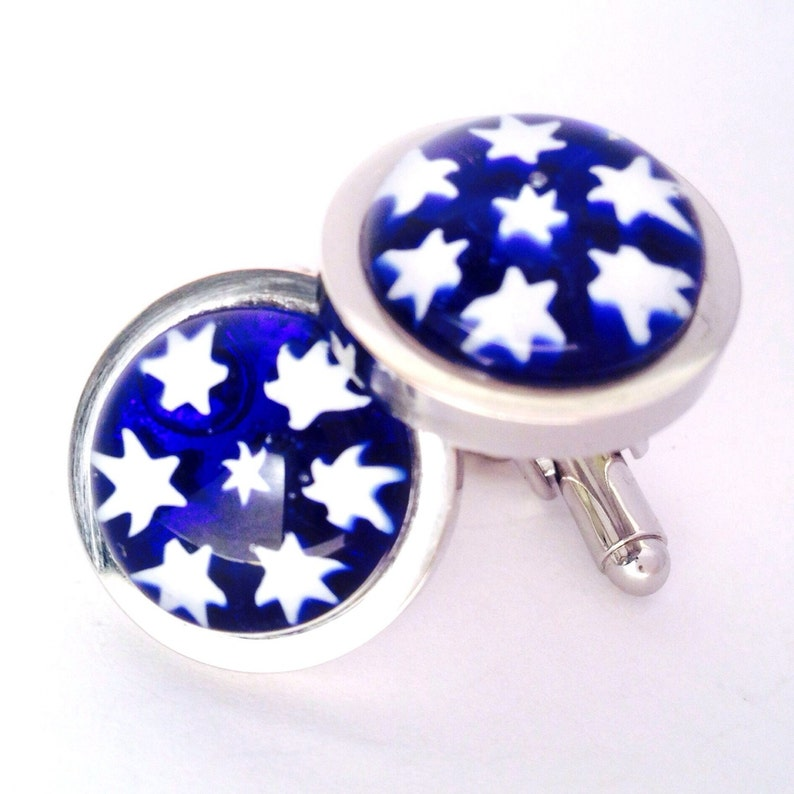 Chunky Silver Plated Cufflinks Inlaid with Unique Hand-Made Glass Millefiori Stars Blue Star Pattern Glass Cufflinks