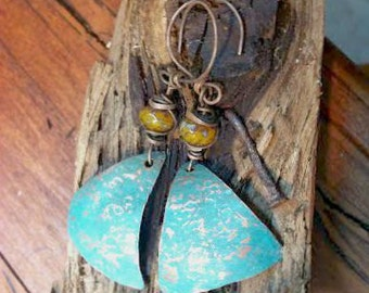Copper Triangle verdigris earrings 3 inches long . Shipped from USA