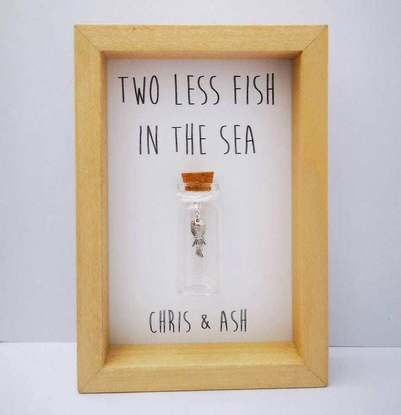 Two less fish in the sea Personalised wedding gift Add names image 0