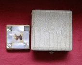 Scottie Dog Face Powder Compact - Mother of Pearl Abalone Shell Motiff in Red Velvet Lined Case 1950s Vintage
