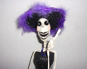 Mexico - Day of the Day (Dia De Los Muertos) Morticia Like Skeleton Smoking Cigarette in Long Black Glitter Gown Hat-18 quot Halloween