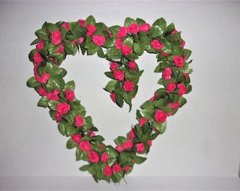 Heart Shaped Grapevine Wreath with Red Silk Roses and Green Leaves