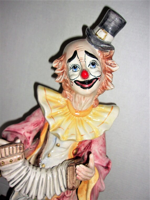 Capodimonte Clown Playing Accordian 23 Statue Made Etsy