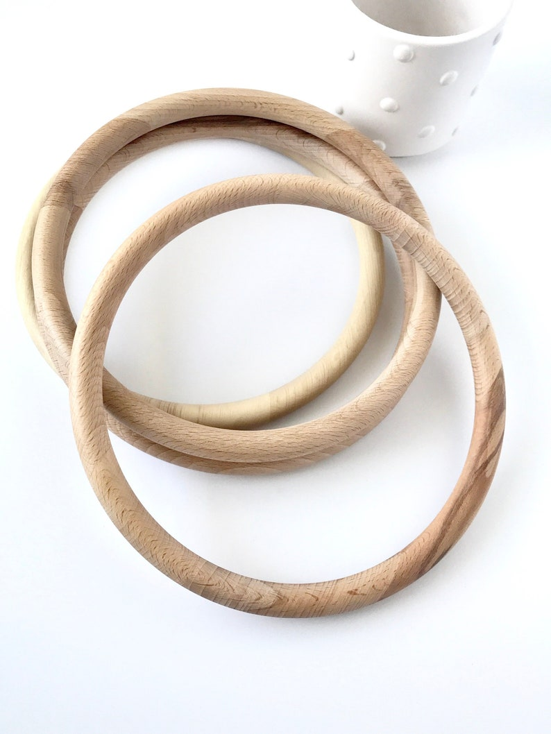Large 8 Wooden Hoop Unfinished Natural Organic Wood Ring European Made Mobile Wreath Wall Art Supply
