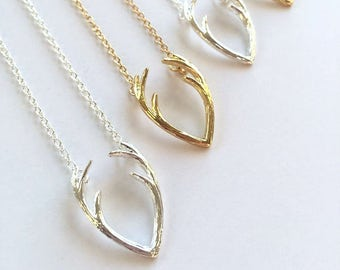 Antler Necklace - Antler Jewelry - Silver Antler Necklace - Gold Layering Necklace - Dainty Charm Necklace