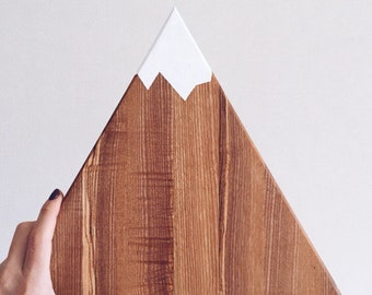 Triangle Geometric Wood Chopping Board Handpainted Mountain Cutting Cheese Serving Board Rustic Platter Home Kitchen Decor
