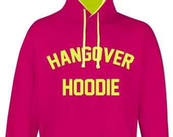 2f1769f0a4dfa Hangover Hoodie Hoody Hot Pink Neon Yellow Fluorescent Top Sizes S to XXL  Teenager Gift Boyfriend Girlfriend Student