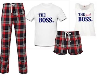 c5f6308da5 Couples Pyjamas The Boss The Real Boss Wedding Honeymoon Red Tartan Pajamas  Pet PJ's Pyjamas Lounge Wear Fathers Day Loungewear