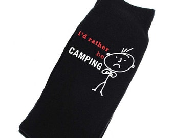 I/'d Rather be Camping with Tent Image Printed Mens Black Cotton Socks