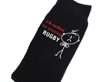 0ee1ddf3baa Rugby Socks Mens I d Rather Be Playing Rugby Socks Fathers Day Dad Present  Boyfriend Husband Uncle