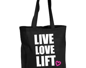 Live Love Lift Training Bag Shopping Bag Reusable Black Shopper Gym Bag 508195786b47e