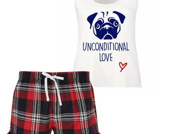 Mens Pug I Work Hard So My Pug Can Have A Better Life Tartan Pyjama Set Fathers