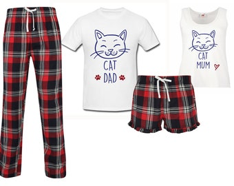 f0c57fd41 Couples Cat Pyjamas Red Tartan Pajamas Pet PJ s Pyjamas Lounge Wear Fathers  Day Loungewear Tartan