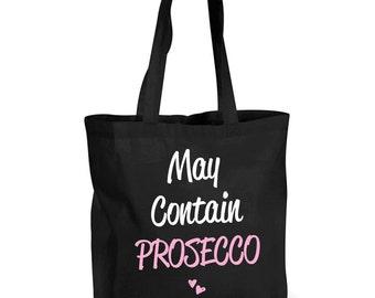 Prosecco Bag Shopping Bag May Contain Prosecco Large Jute Bag Pink Reusable Black Shopper