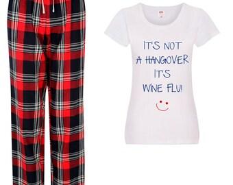 It/'s Not A Hangover It/'s Vodka Flu Pyjamas Ladies Tartan Frill Short Pyjama Set