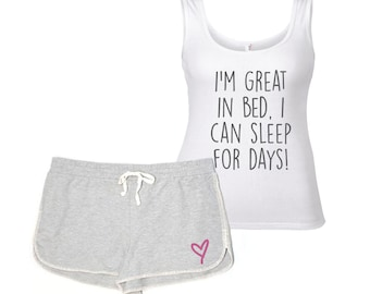 129e55354f48 Funny Pyjamas PJ s Lounge Wear I m Great In Bed I Can Sleep For Days  Loungewear