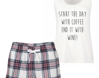 d15af5cf4522 Wine PJ s Pyjamas Start The Day With Coffee End It With Wine Loungewear  Tartan Frill Shorts